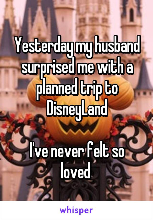 Yesterday my husband surprised me with a planned trip to DisneyLand  I've never felt so loved