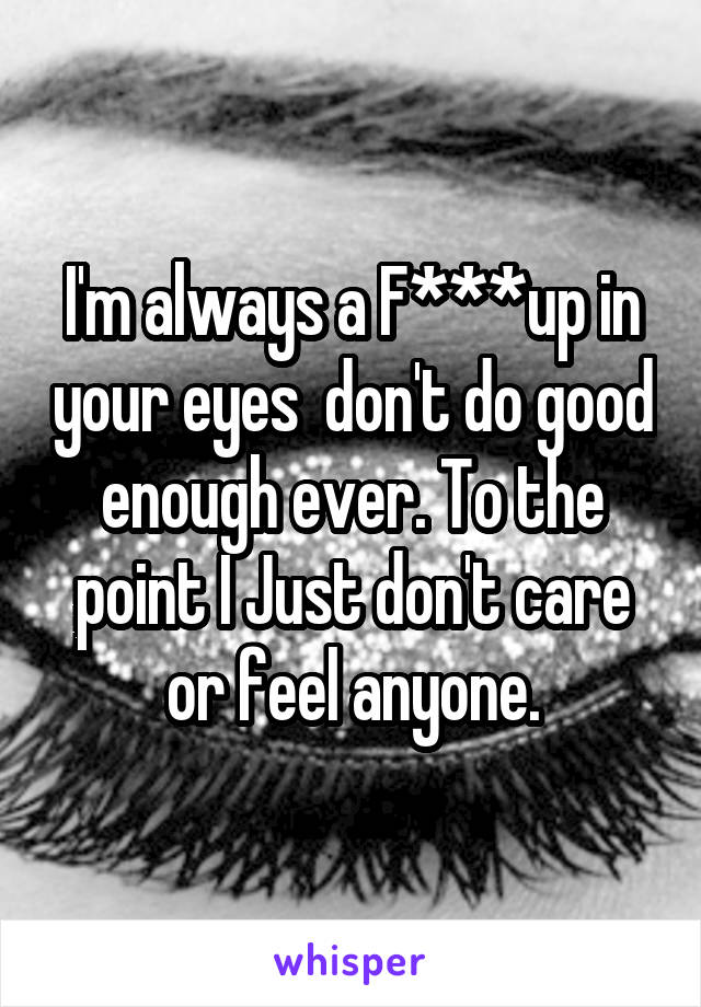 I'm always a F***up in your eyes  don't do good enough ever. To the point I Just don't care or feel anyone.