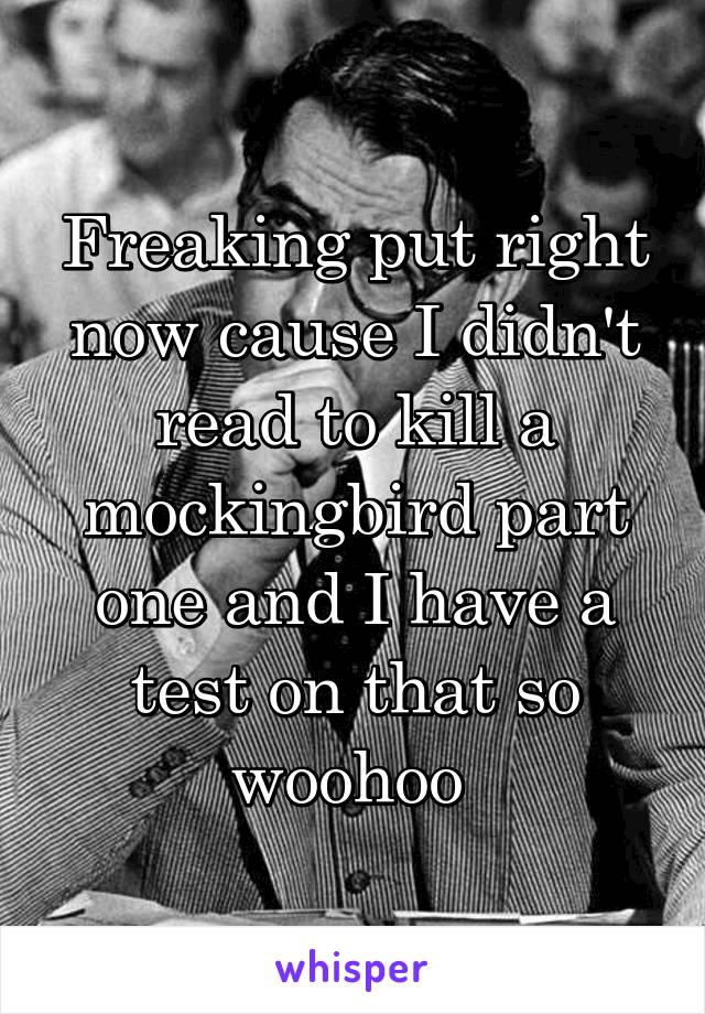 Freaking put right now cause I didn't read to kill a mockingbird part one and I have a test on that so woohoo