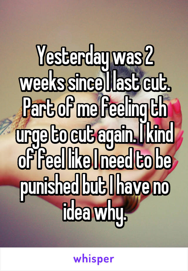 Yesterday was 2 weeks since I last cut. Part of me feeling th urge to cut again. I kind of feel like I need to be punished but I have no idea why.