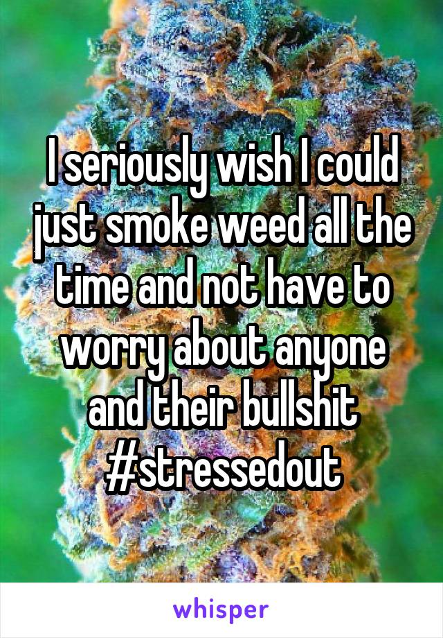 I seriously wish I could just smoke weed all the time and not have to worry about anyone and their bullshit #stressedout