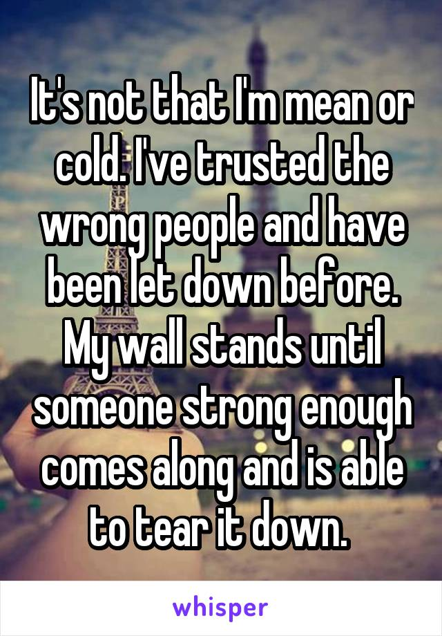 It's not that I'm mean or cold. I've trusted the wrong people and have been let down before. My wall stands until someone strong enough comes along and is able to tear it down.