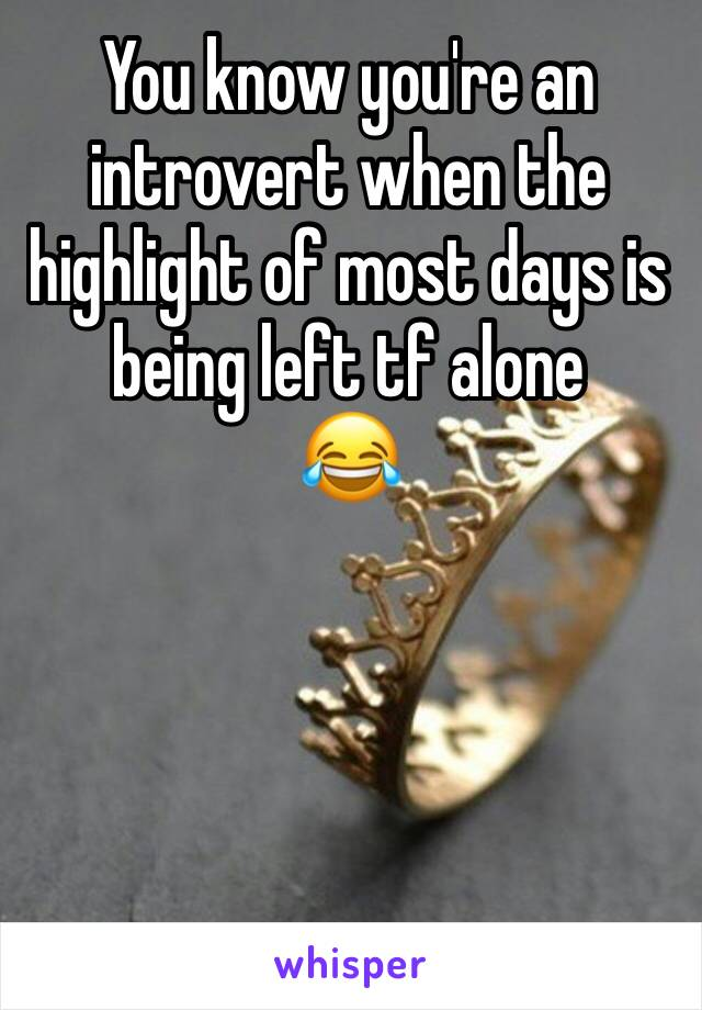 You know you're an introvert when the highlight of most days is being left tf alone 😂