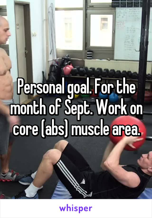 Personal goal. For the month of Sept. Work on core (abs) muscle area.