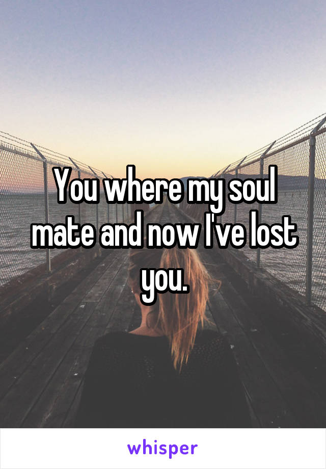 You where my soul mate and now I've lost you.
