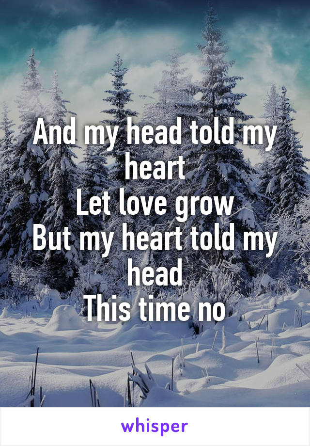 And my head told my heart Let love grow But my heart told my head This time no