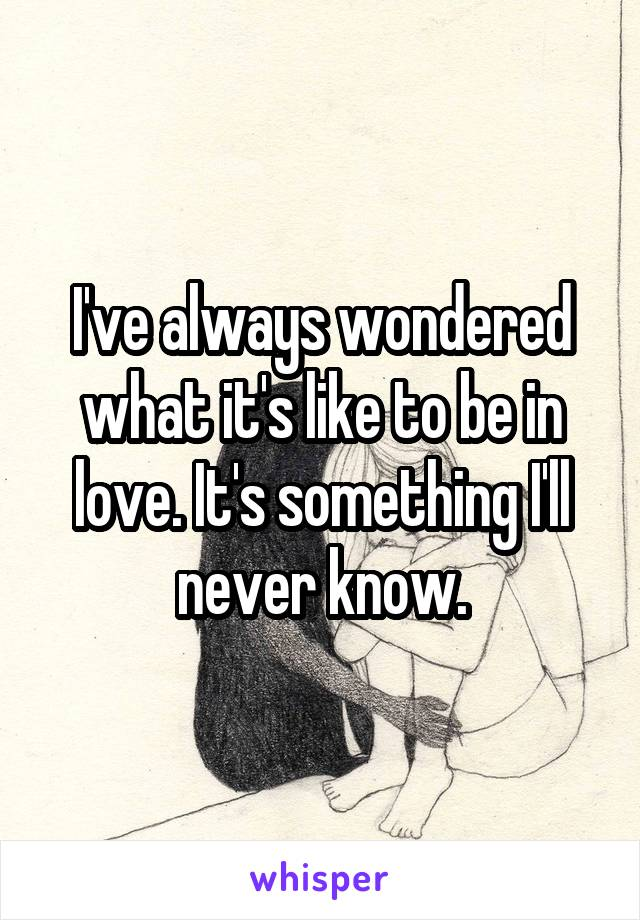 I've always wondered what it's like to be in love. It's something I'll never know.