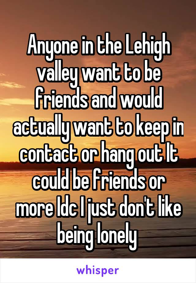 Anyone in the Lehigh valley want to be friends and would actually want to keep in contact or hang out It could be friends or more Idc I just don't like being lonely