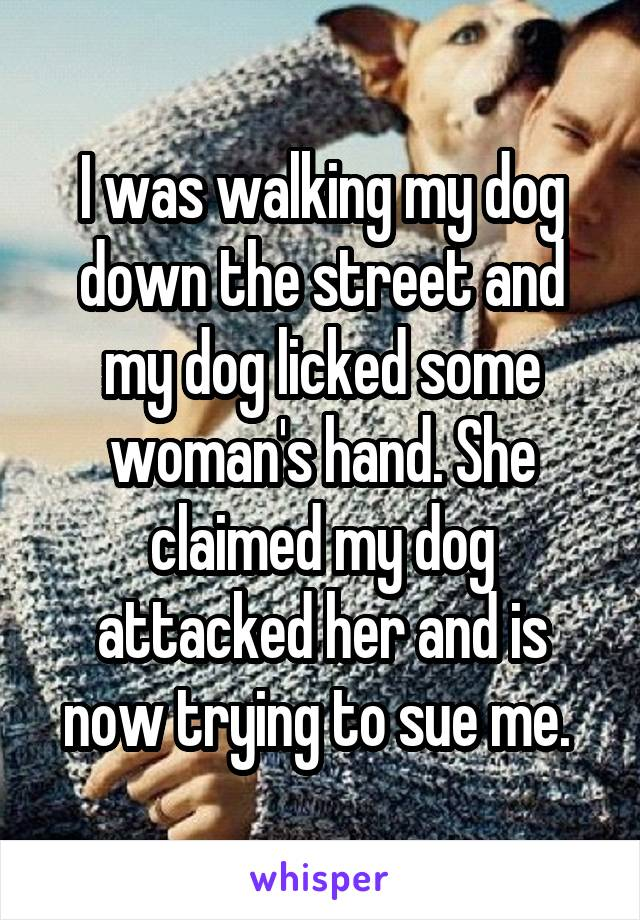 I was walking my dog down the street and my dog licked some woman's hand. She claimed my dog attacked her and is now trying to sue me.