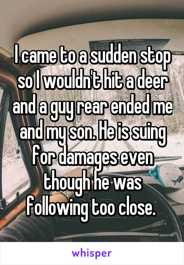 I came to a sudden stop so I wouldn't hit a deer and a guy rear ended me and my son. He is suing for damages even though he was following too close.