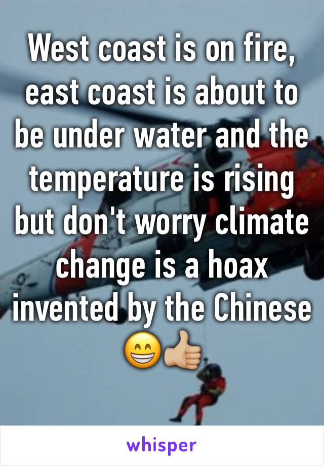West coast is on fire, east coast is about to be under water and the temperature is rising but don't worry climate change is a hoax invented by the Chinese 😁👍🏼