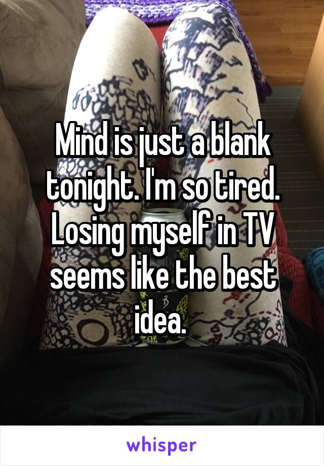 Mind is just a blank tonight. I'm so tired. Losing myself in TV seems like the best idea.
