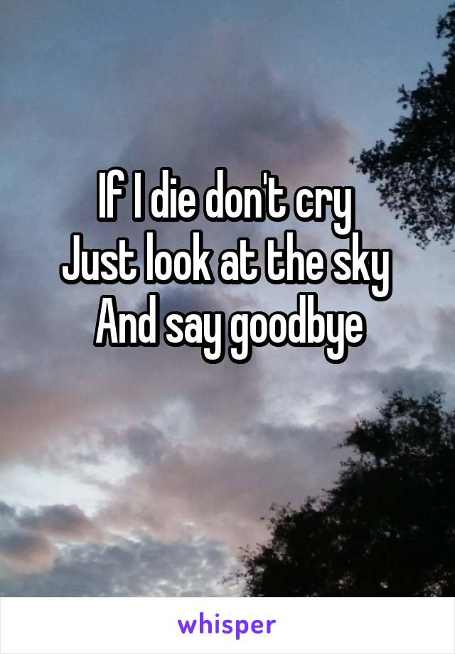 If I die don't cry  Just look at the sky  And say goodbye
