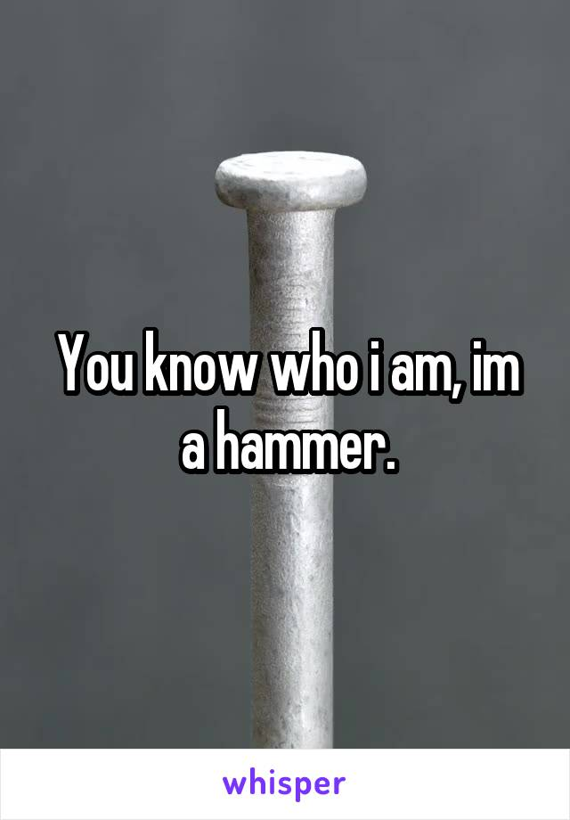 You know who i am, im a hammer.