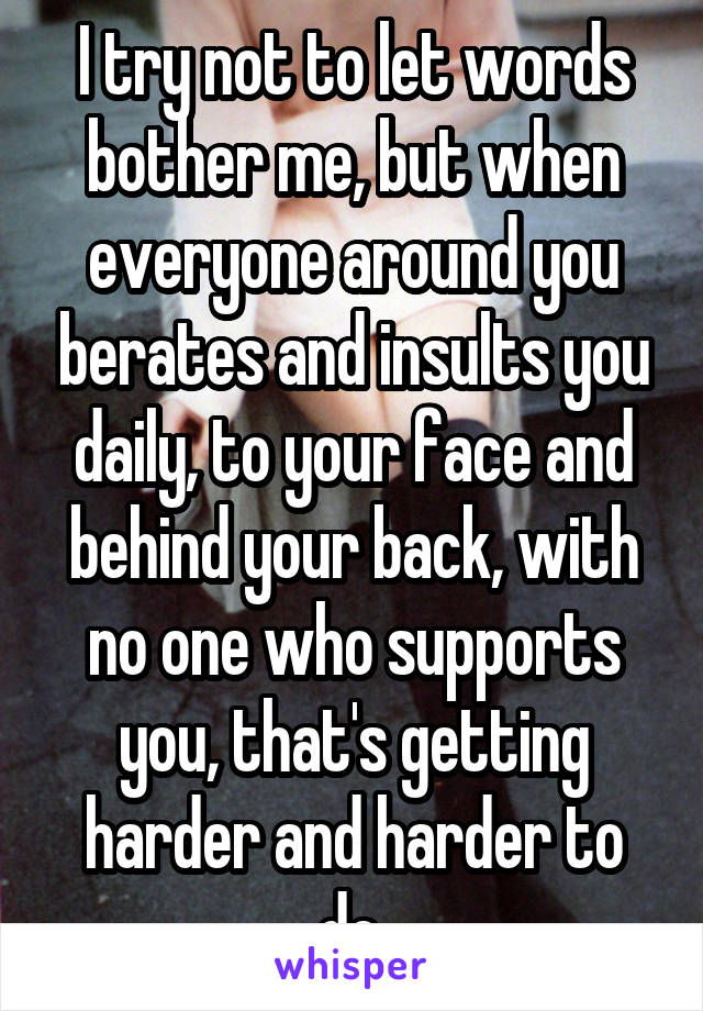 I try not to let words bother me, but when everyone around you berates and insults you daily, to your face and behind your back, with no one who supports you, that's getting harder and harder to do.