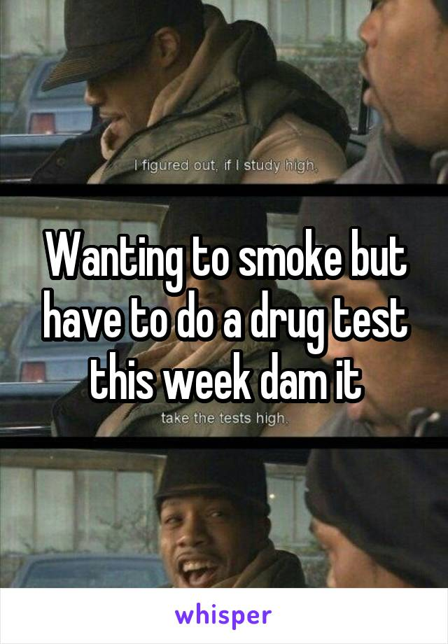 Wanting to smoke but have to do a drug test this week dam it