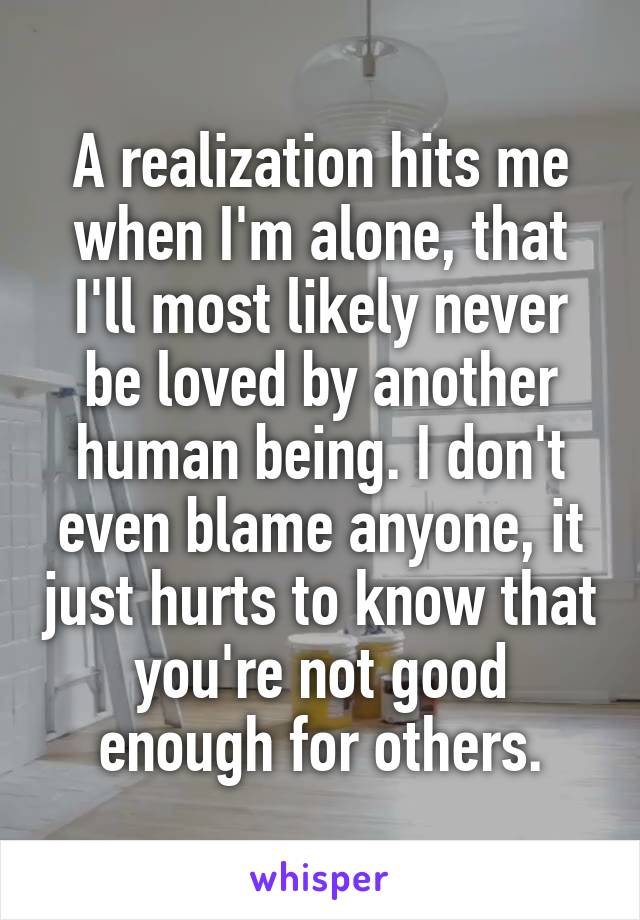 A realization hits me when I'm alone, that I'll most likely never be loved by another human being. I don't even blame anyone, it just hurts to know that you're not good enough for others.