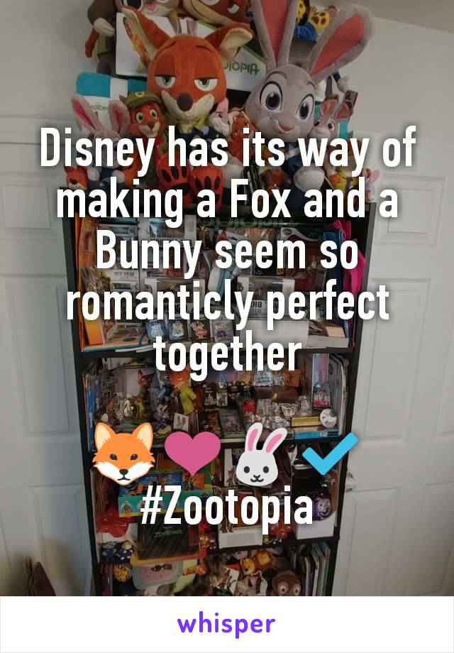 Disney has its way of making a Fox and a Bunny seem so romanticly perfect together  🦊❤️🐰✔️ #Zootopia