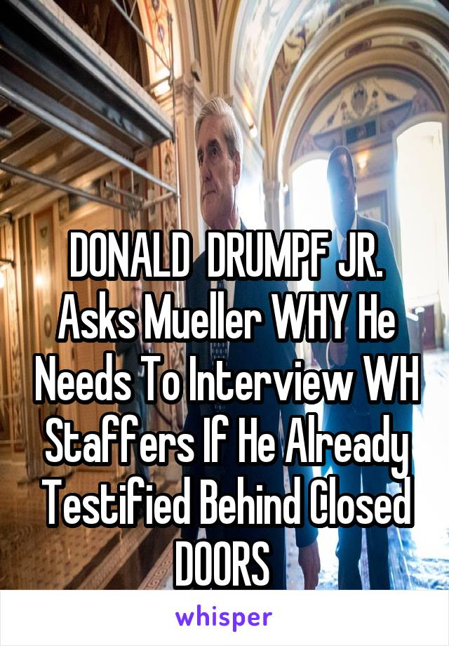 DONALD  DRUMPF JR. Asks Mueller WHY He Needs To Interview WH Staffers If He Already Testified Behind Closed DOORS