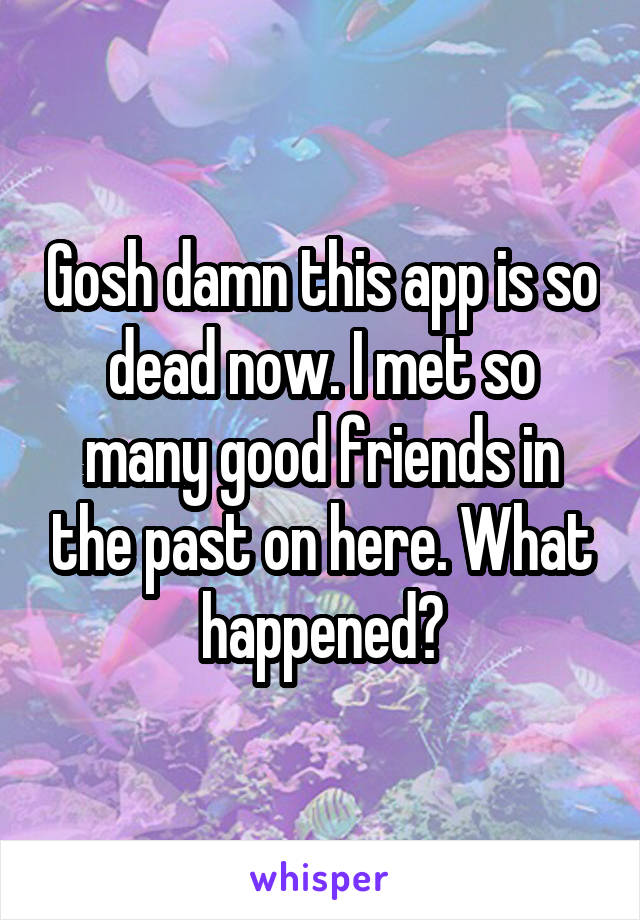 Gosh damn this app is so dead now. I met so many good friends in the past on here. What happened?