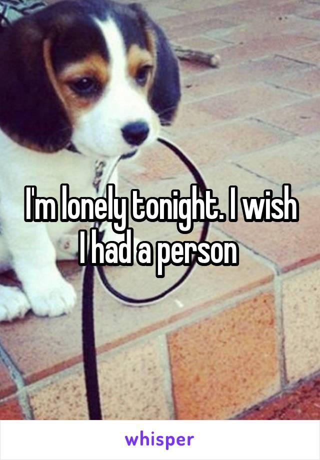 I'm lonely tonight. I wish I had a person