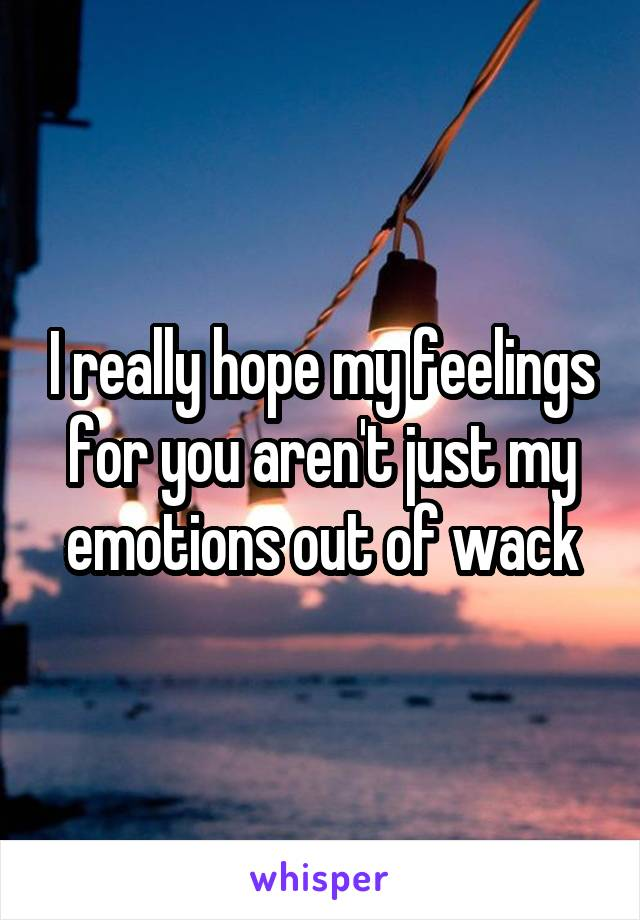 I really hope my feelings for you aren't just my emotions out of wack