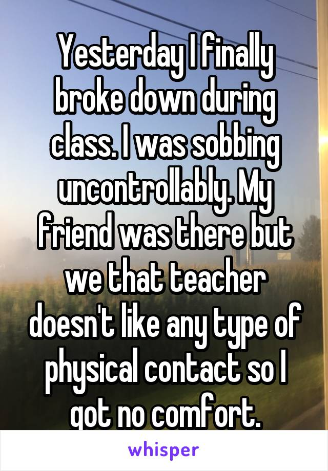 Yesterday I finally broke down during class. I was sobbing uncontrollably. My friend was there but we that teacher doesn't like any type of physical contact so I got no comfort.