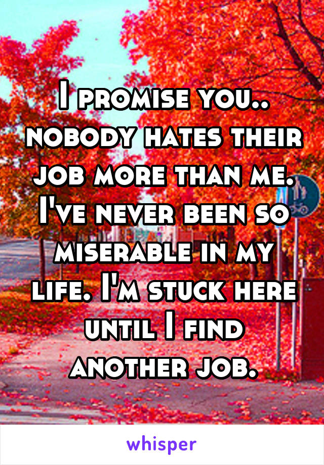 I promise you.. nobody hates their job more than me. I've never been so miserable in my life. I'm stuck here until I find another job.