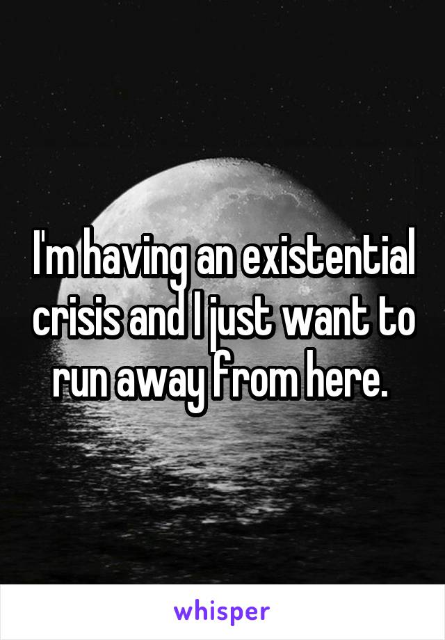 I'm having an existential crisis and I just want to run away from here.