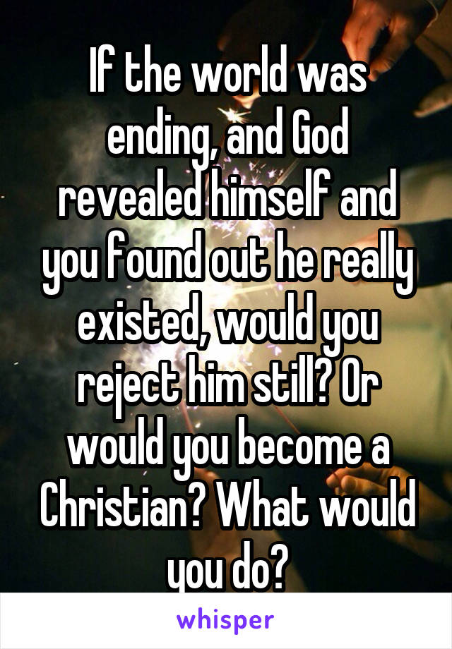 If the world was ending, and God revealed himself and you found out he really existed, would you reject him still? Or would you become a Christian? What would you do?