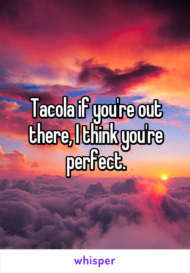 Tacola if you're out there, I think you're perfect.