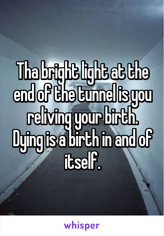 Tha bright light at the end of the tunnel is you reliving your birth. Dying is a birth in and of itself.