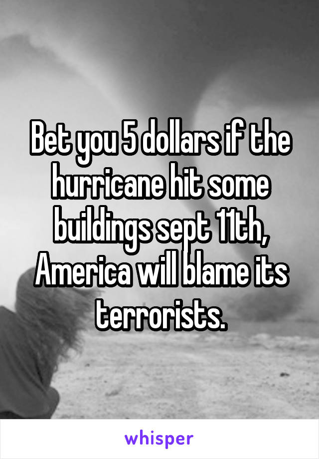 Bet you 5 dollars if the hurricane hit some buildings sept 11th, America will blame its terrorists.