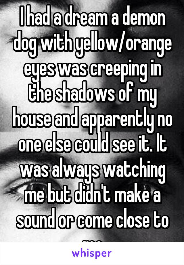 I had a dream a demon dog with yellow/orange eyes was creeping in the shadows of my house and apparently no one else could see it. It was always watching me but didn't make a sound or come close to me
