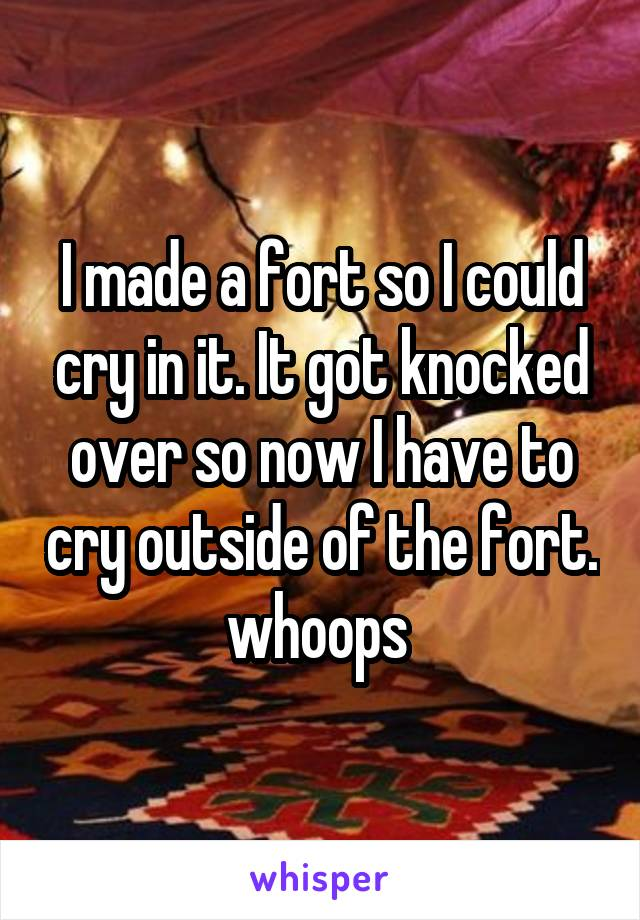 I made a fort so I could cry in it. It got knocked over so now I have to cry outside of the fort. whoops