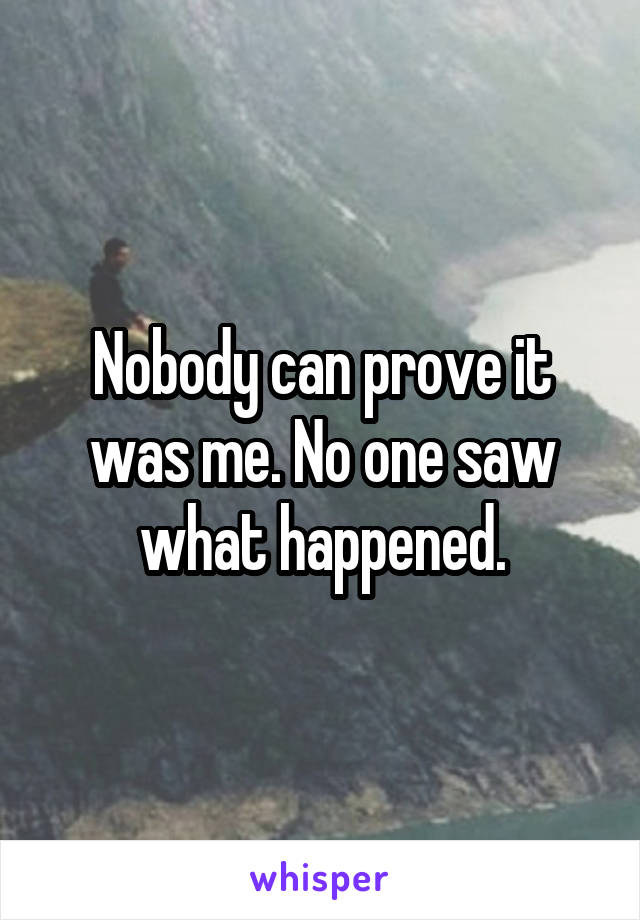 Nobody can prove it was me. No one saw what happened.