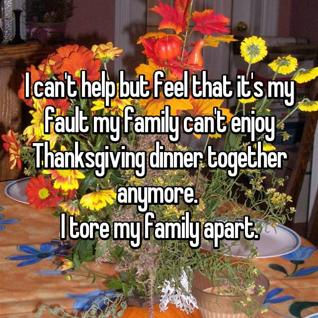 I can't help but feel that it's my fault my family can't enjoy Thanksgiving dinner together anymore.  I tore my family apart.