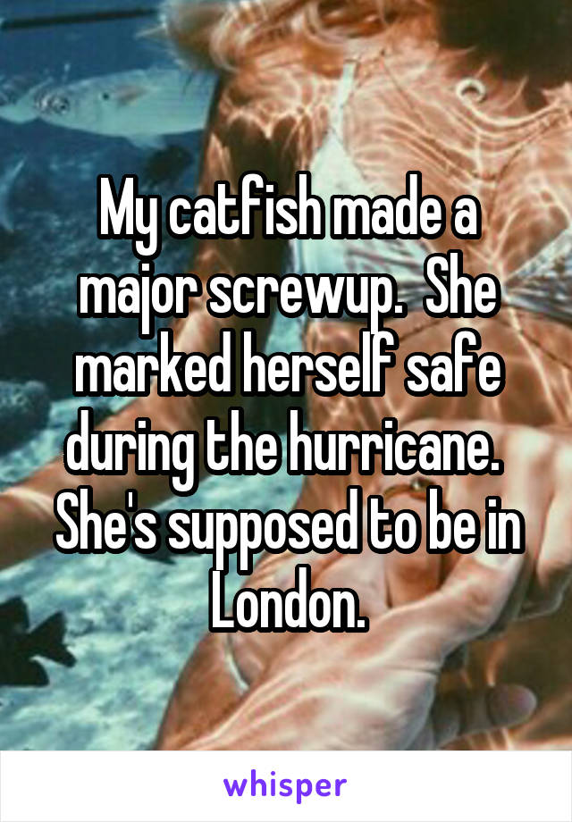 My catfish made a major screwup.  She marked herself safe during the hurricane.  She's supposed to be in London.