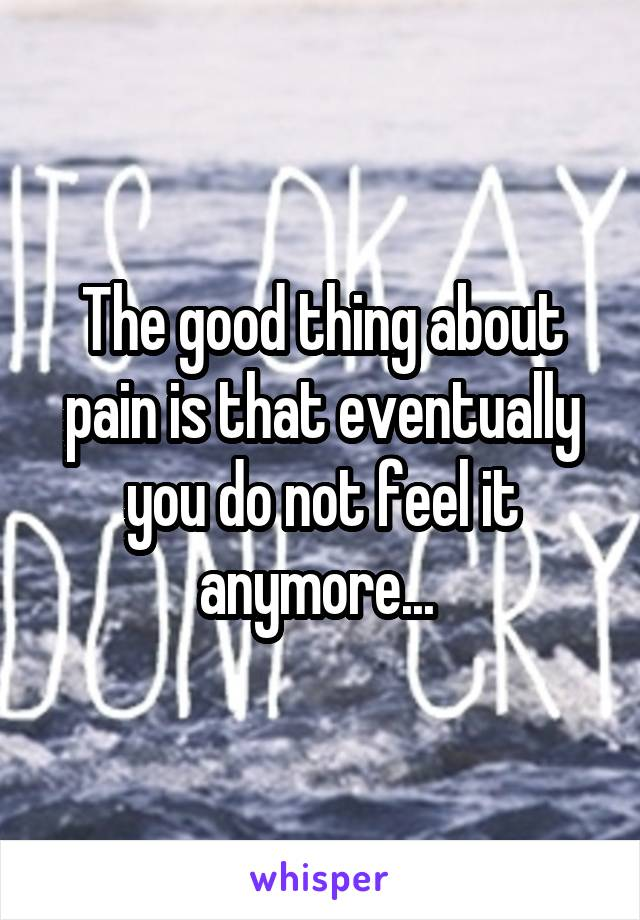 The good thing about pain is that eventually you do not feel it anymore...