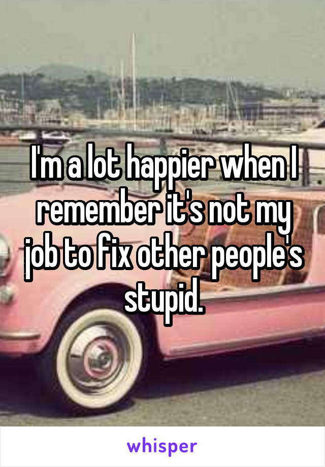 I'm a lot happier when I remember it's not my job to fix other people's stupid.