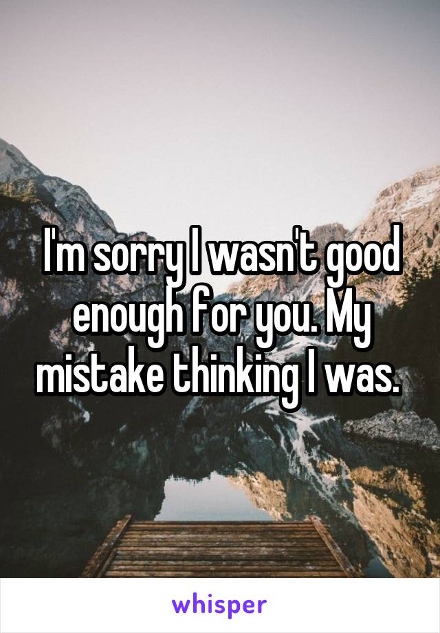 I'm sorry I wasn't good enough for you. My mistake thinking I was.