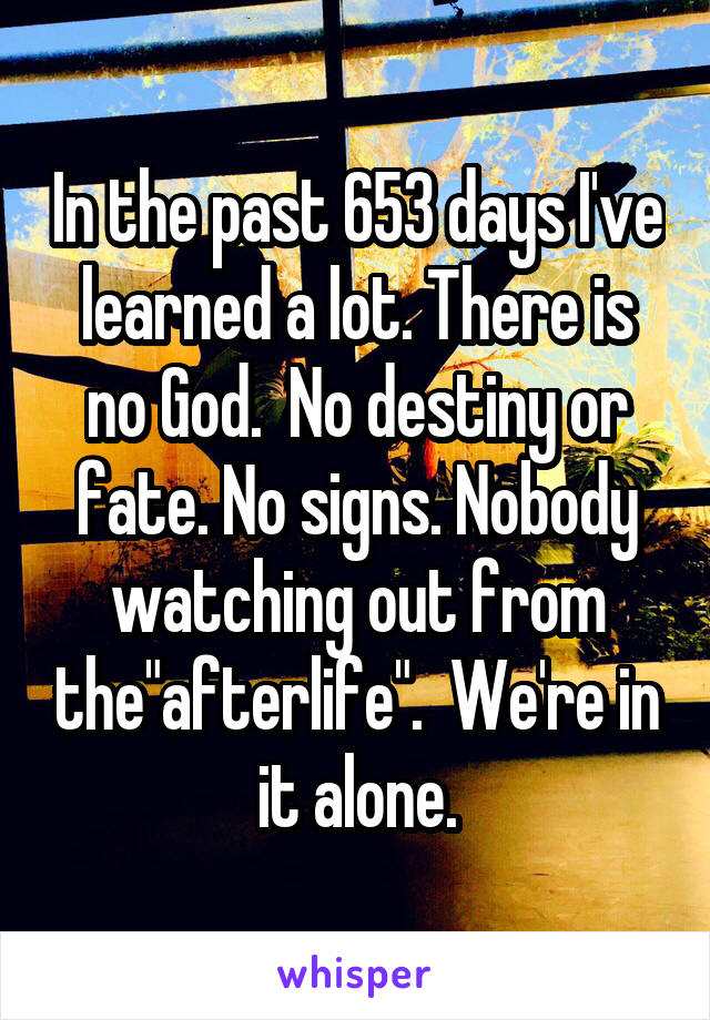 """In the past 653 days I've learned a lot. There is no God.  No destiny or fate. No signs. Nobody watching out from the""""afterlife"""".  We're in it alone."""