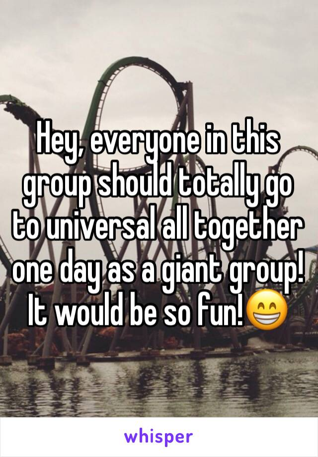 Hey, everyone in this group should totally go to universal all together one day as a giant group! It would be so fun!😁