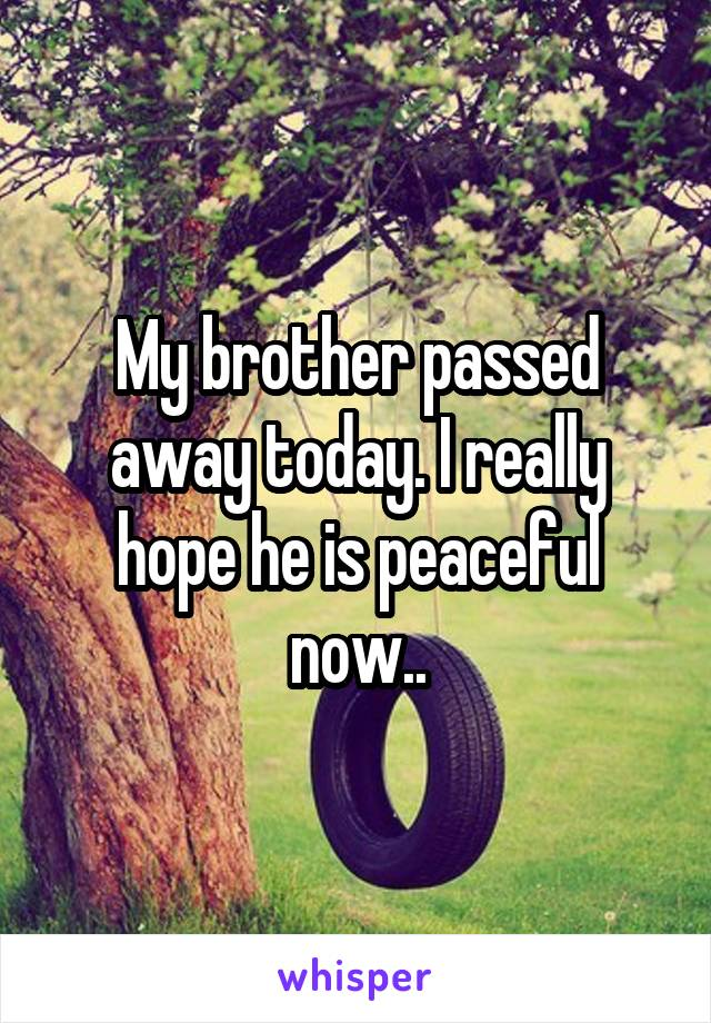 My brother passed away today. I really hope he is peaceful now..