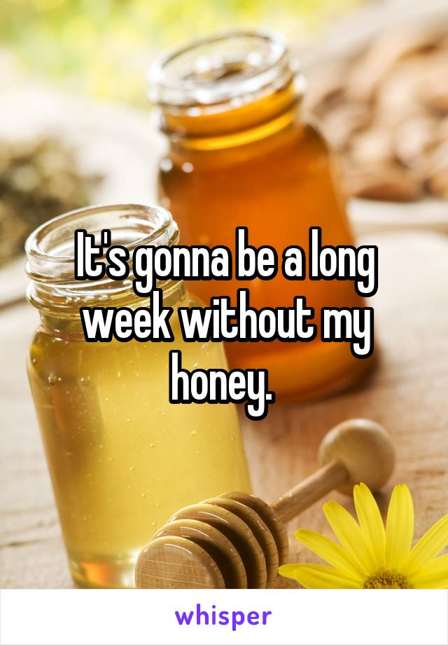 It's gonna be a long week without my honey.