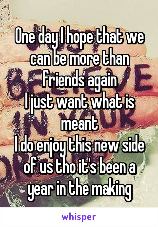 One day I hope that we can be more than friends again I just want what is meant I do enjoy this new side of us tho it's been a year in the making