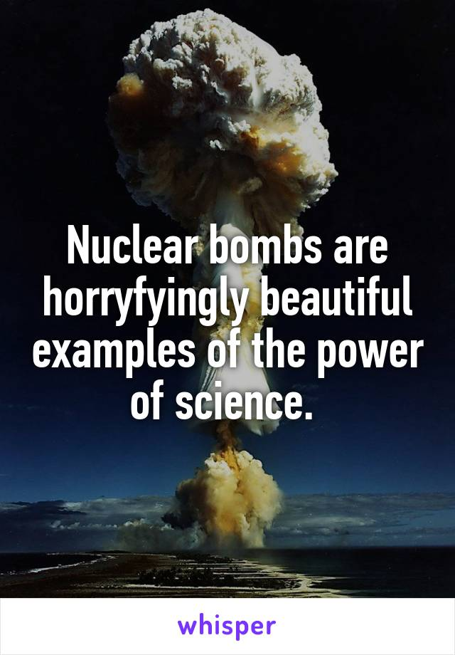 Nuclear bombs are horryfyingly beautiful examples of the power of science.