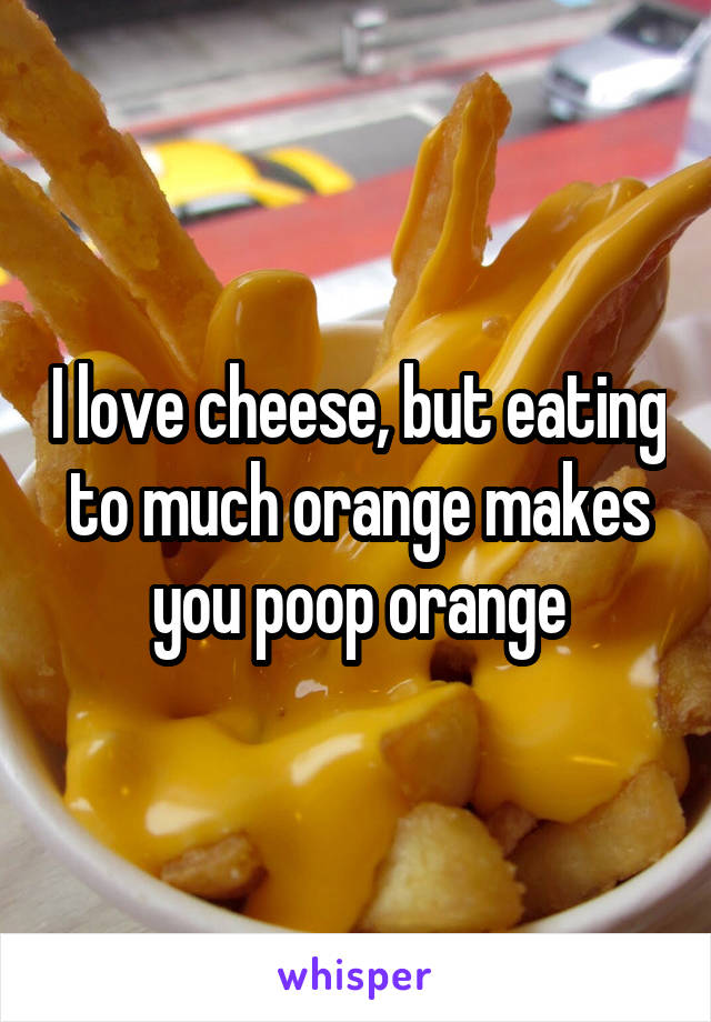 I love cheese, but eating to much orange makes you poop orange