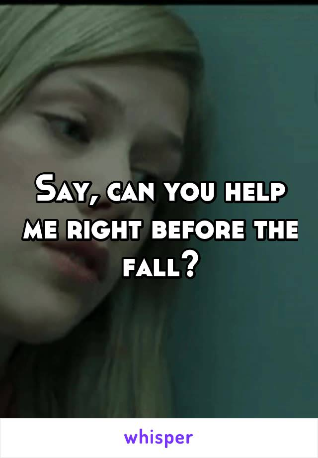 Say, can you help me right before the fall?