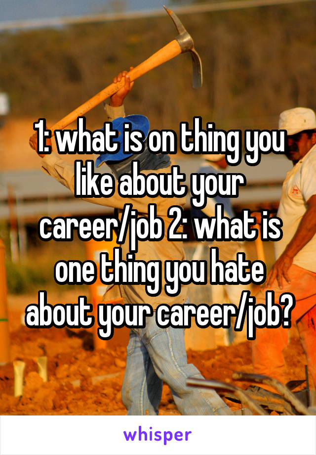 1: what is on thing you like about your career/job 2: what is one thing you hate about your career/job?
